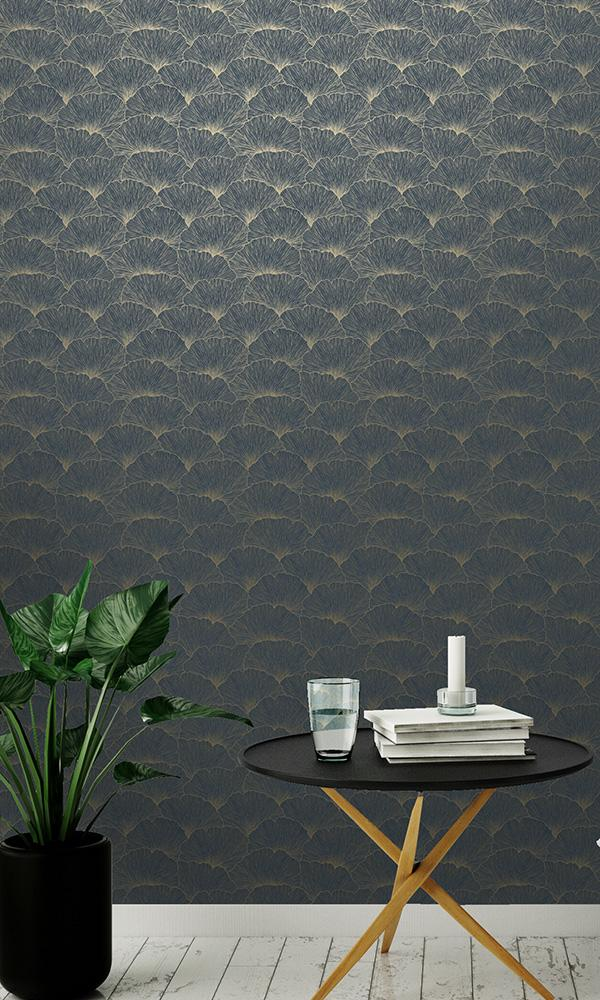 floral geometric metallic leaves wallpaper