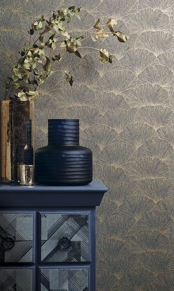 floral metallic geometric leaves wallpaper