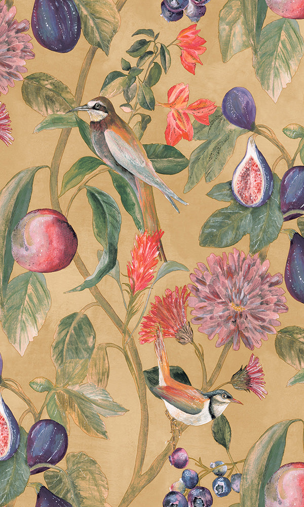 birds vines floral wallpaper