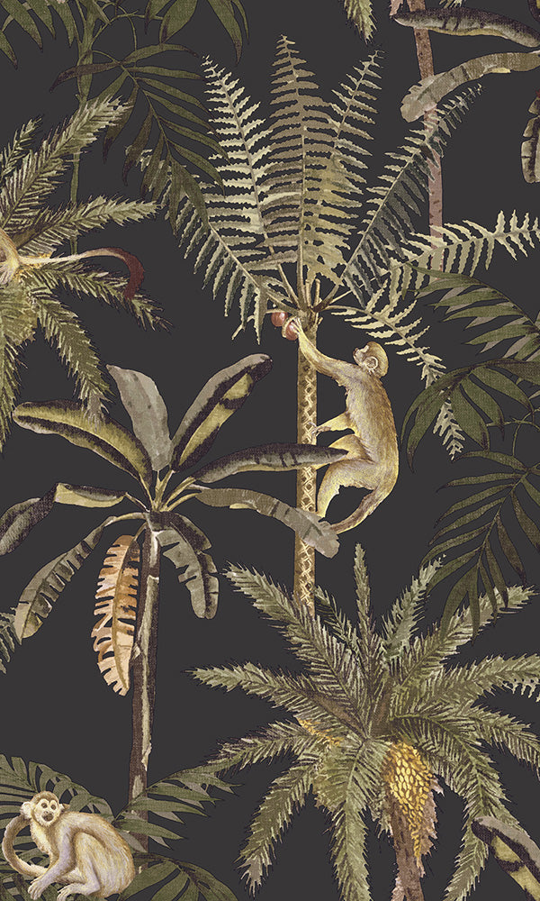 vintage tropical monkeys wallpaper