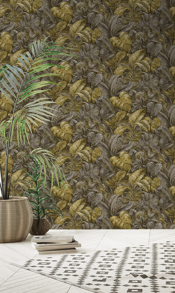 botanical tropical leaves wallpaper