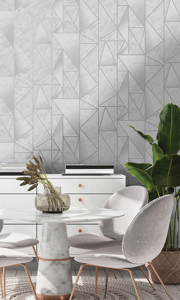 modern metallic geometric wallpaper