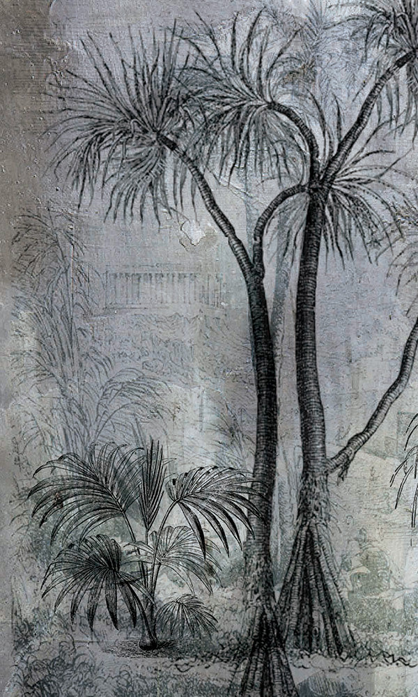vintage tropical trees on concrete wallpaper