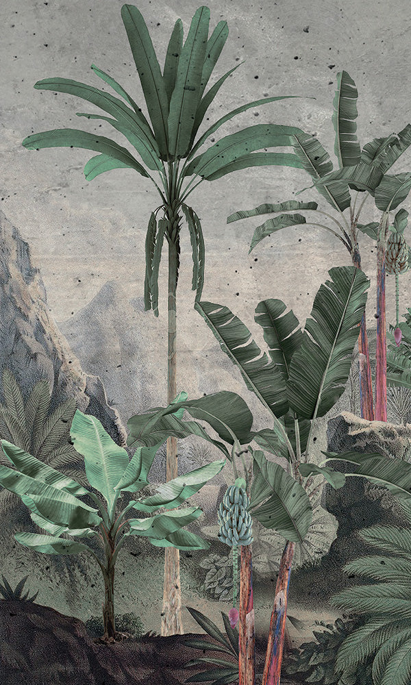 retro vintage illustrated tropical landscape wallpaper