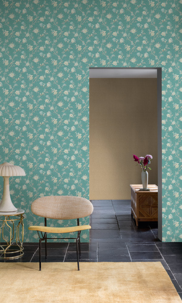 vintage floral chinoiserie living room wallpaper canada