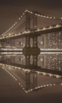 City Love New York Manhattan Bridge by Night Wallpaper CL30C