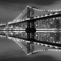 City Love New York Manhattan Bridge by Night Wallpaper CL30B