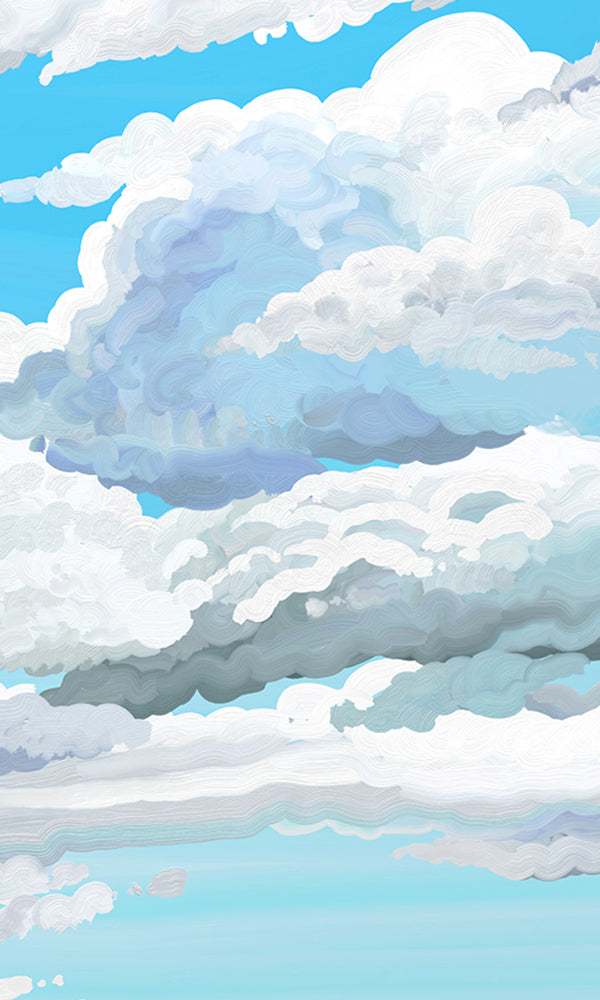 Sunny Afternoon Painted Clouds Wallpaper 2001023