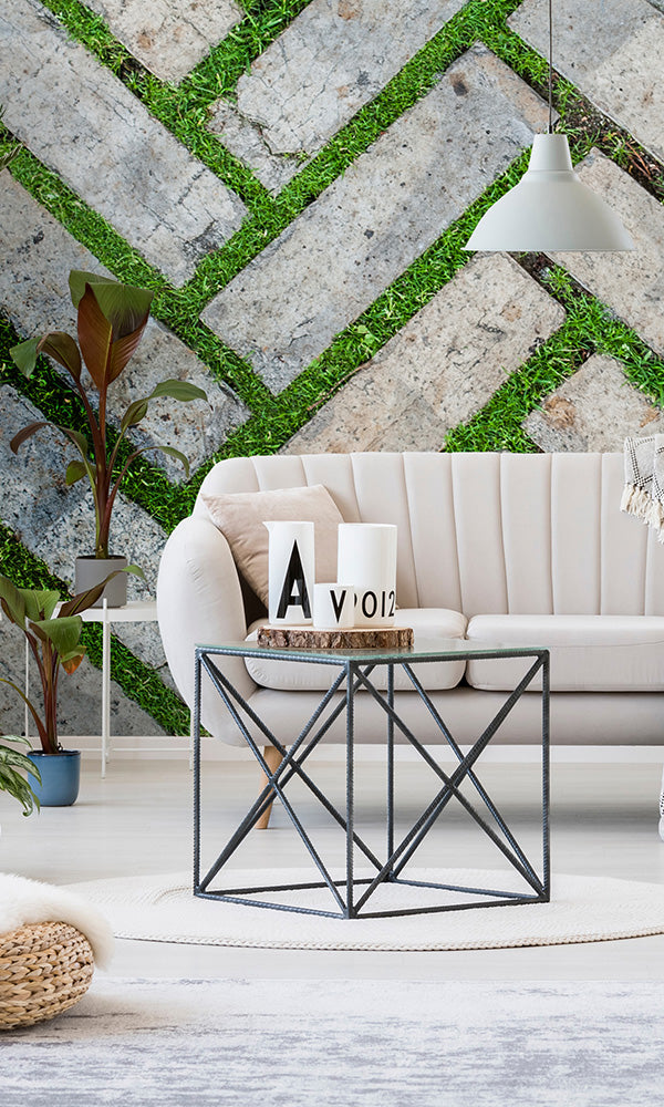 overgrowth herringbone masonry living wall wallpaper mural