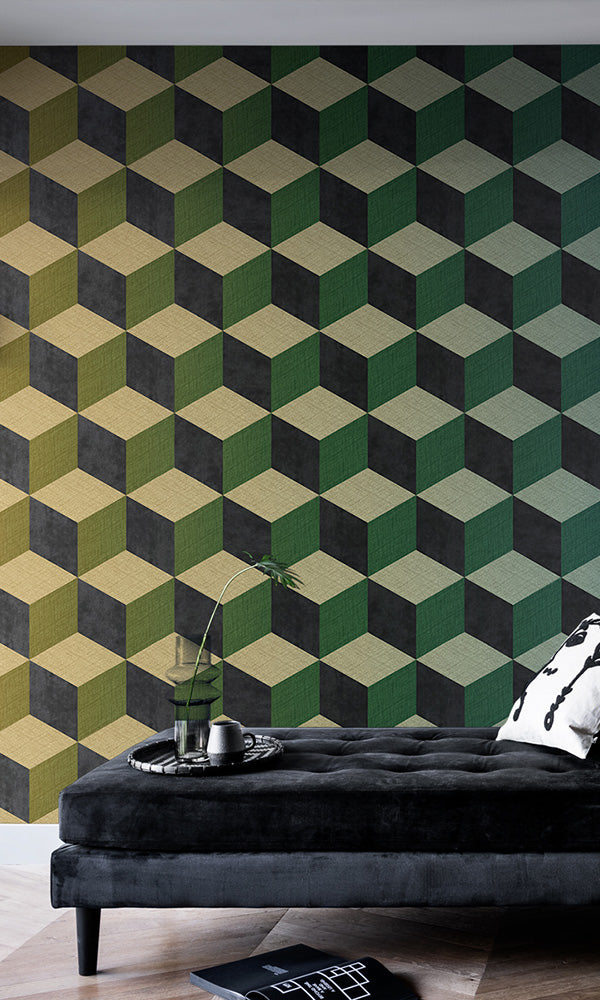 cube geometric wallpaper mural