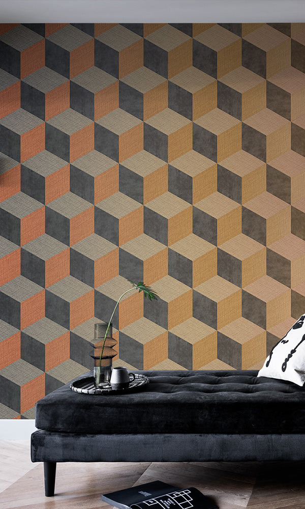 horizontal fading geometric cube wallpaper