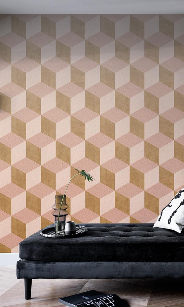 geometric fading cube wallpaper mural