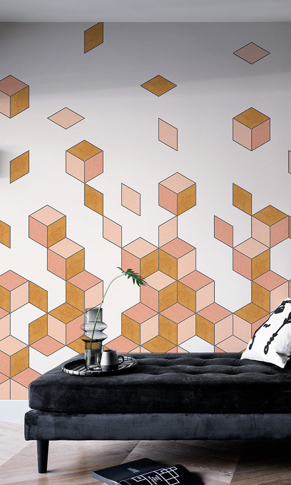 falling cube geometric wallpaper mural
