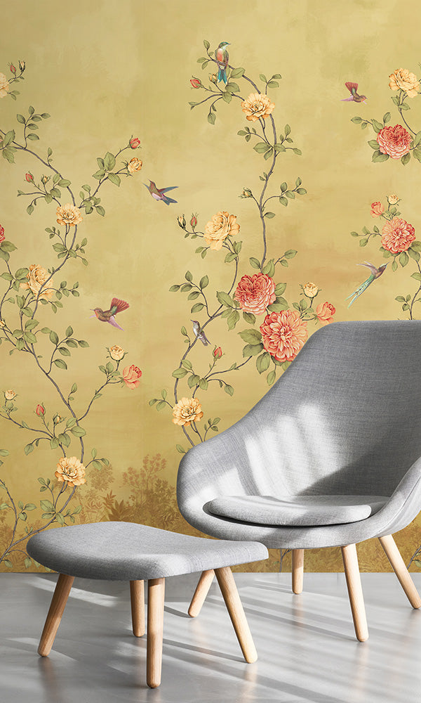 vintage floral chinoiserie wallpaper mural