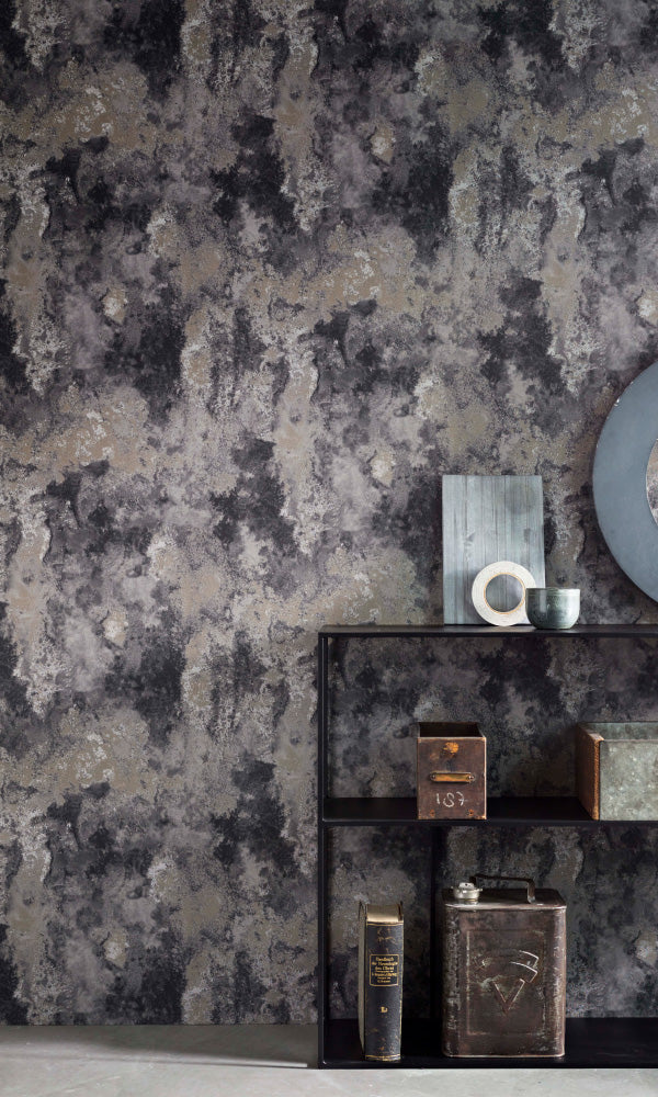 Texture Stories Dark Grey Industrial Concrete Wallpaper 218006
