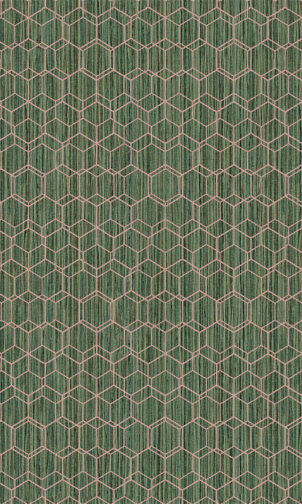 Dimensions Green & Pink Geometric Overlaid Faux Grasscloth 219621