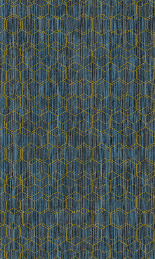 Dimensions Royal Blue & Gold Geometric Overlaid Faux Grasscloth 219623