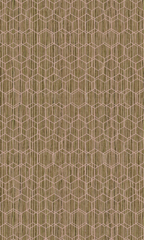 Dimensions Light Green & Pink Geometric Overlaid Faux Grasscloth 219624