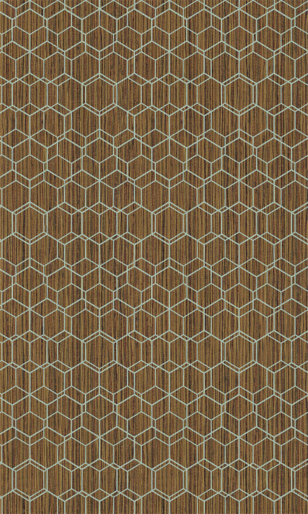 Dimensions Burnt Ochre & Mint Geometric Overlaid Faux Grasscloth 219626