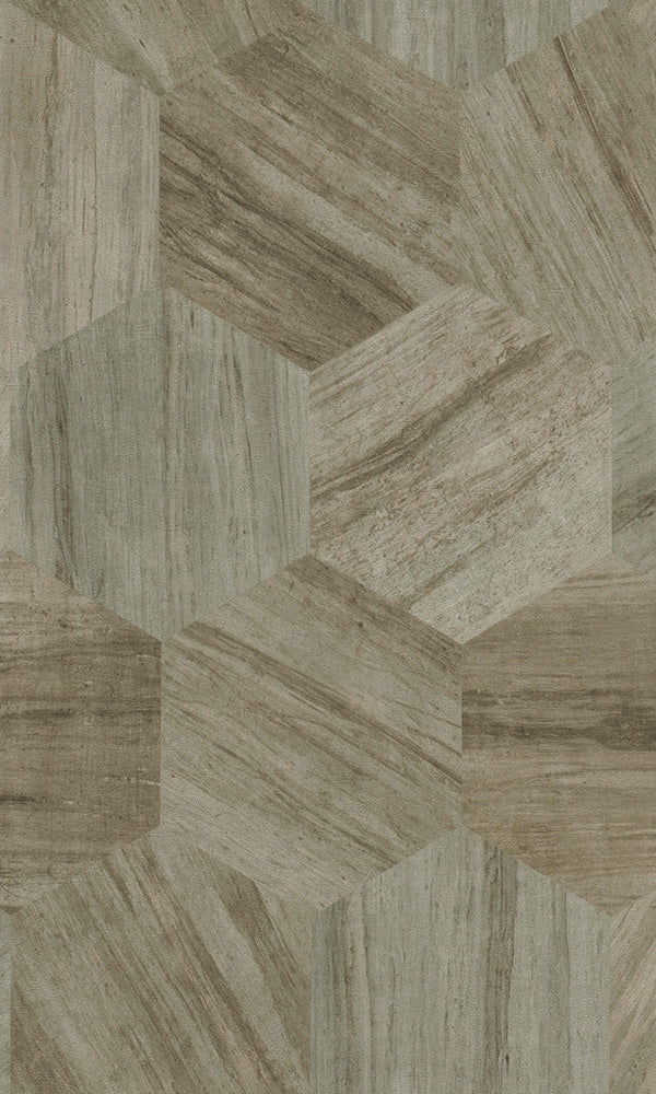 Material World Brown & Green Shifted Geometric Wood 219842