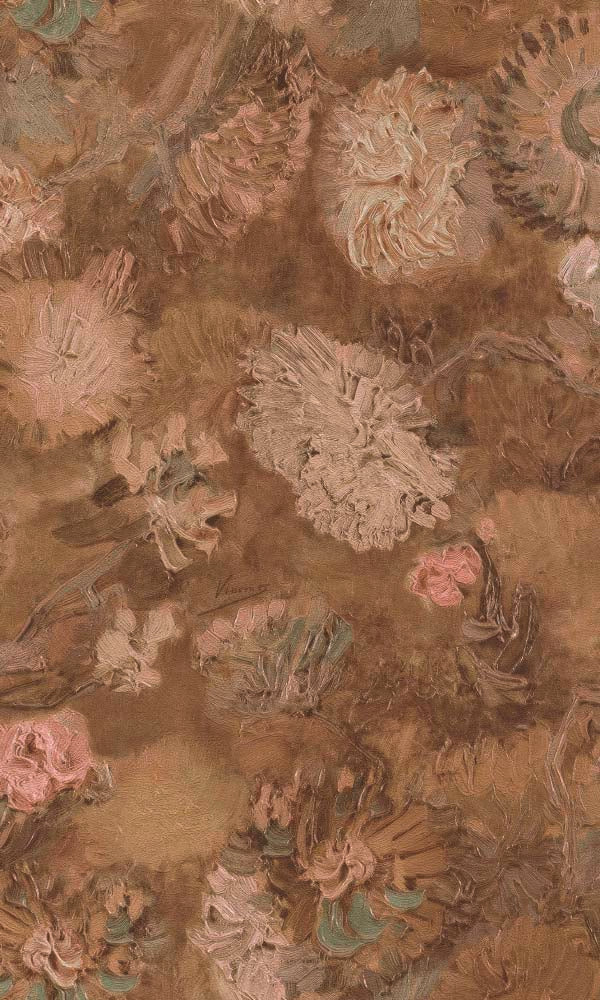 Van Gogh chinese asters and gladioli wallpaper