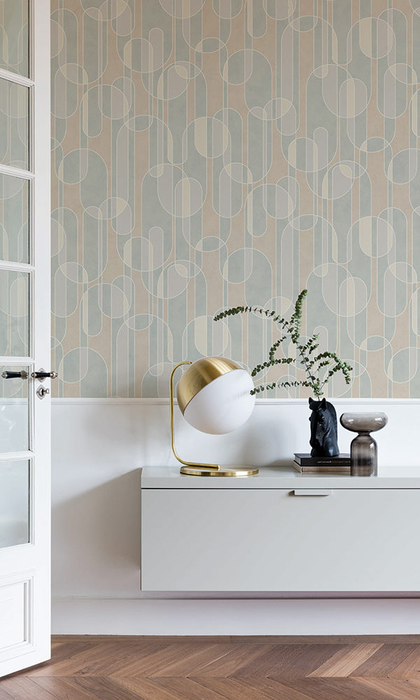 retro overlapping geometric ovals wallpaper
