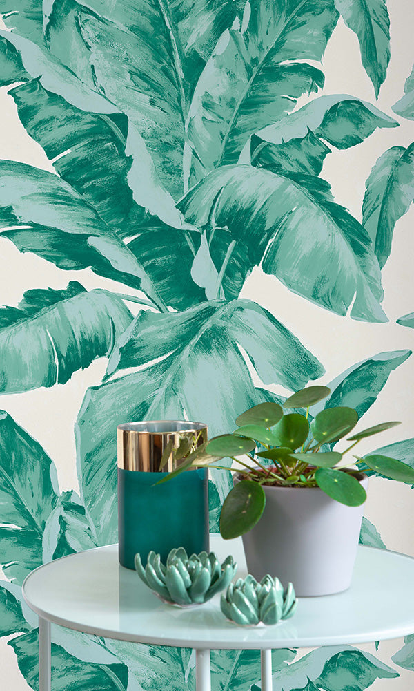Amiata Green Exotic Leaf Stripe 296012 Prime Walls Us York wallcoverings tropics banana leaf removable wallpaper, black/green. amiata green exotic leaf stripe 296012
