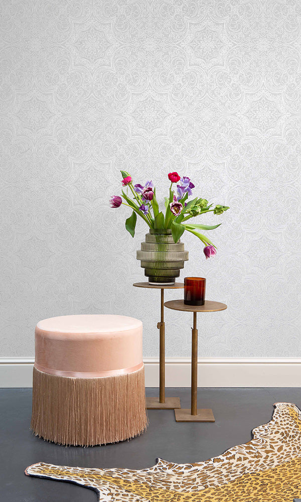 framed floral damask wallpaper