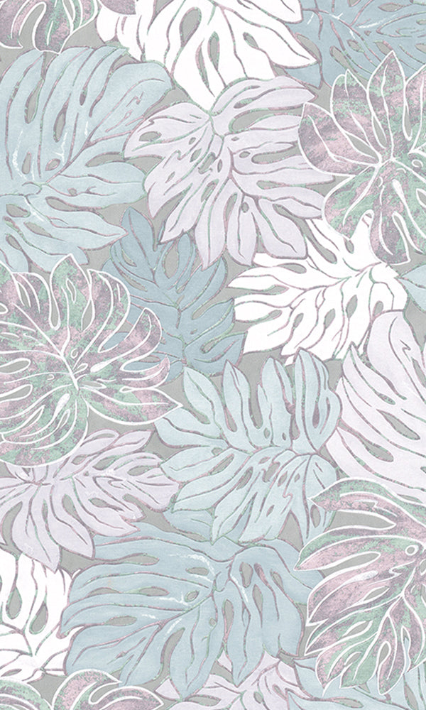 Casual Lavender & Blue Graphic Monstera Leaves 30435