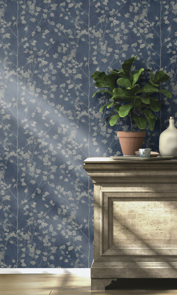 metallic floral living room wallpaper