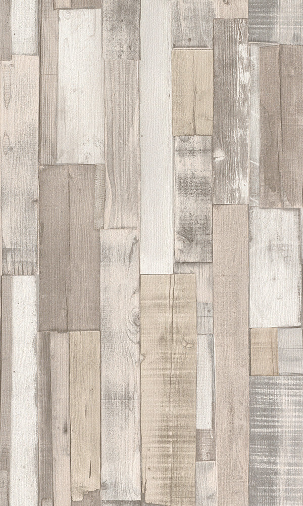 Modern Motifs 2.0 Cream Vertical Overlapping Wooden Planks 446715