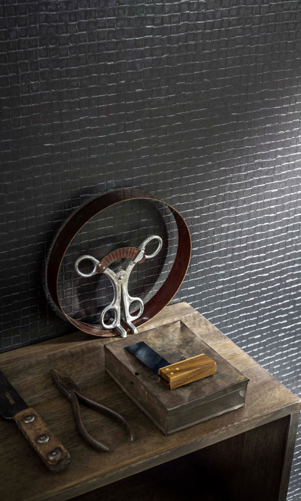 Texture Stories Charcoal Mosaic Tile Wallpaper 49101