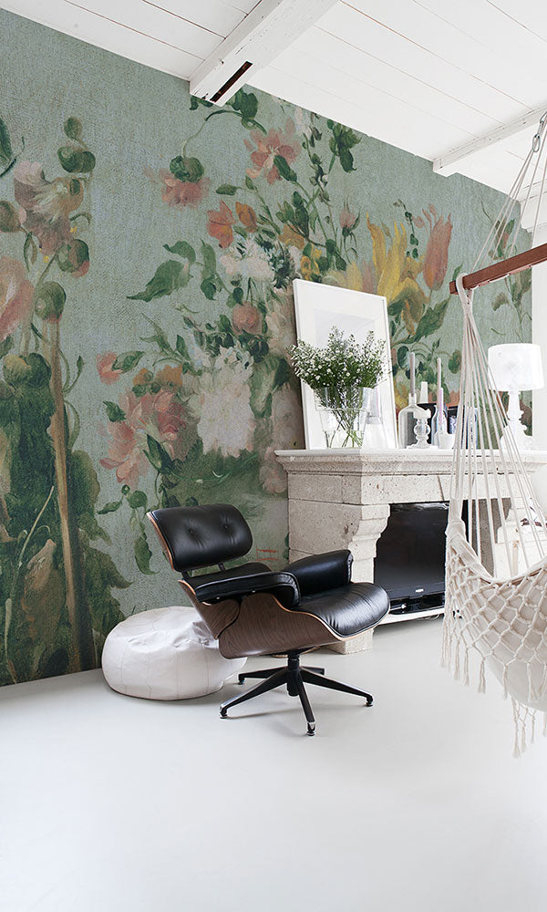 large scale floral wallpaper