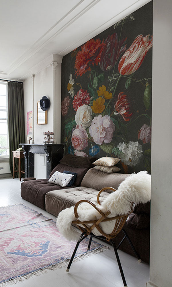 large scale dramatic floral wallpaper