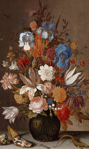 traditional floral painting wallpaper