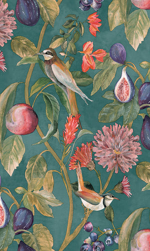 birds and vines floral wallpaper