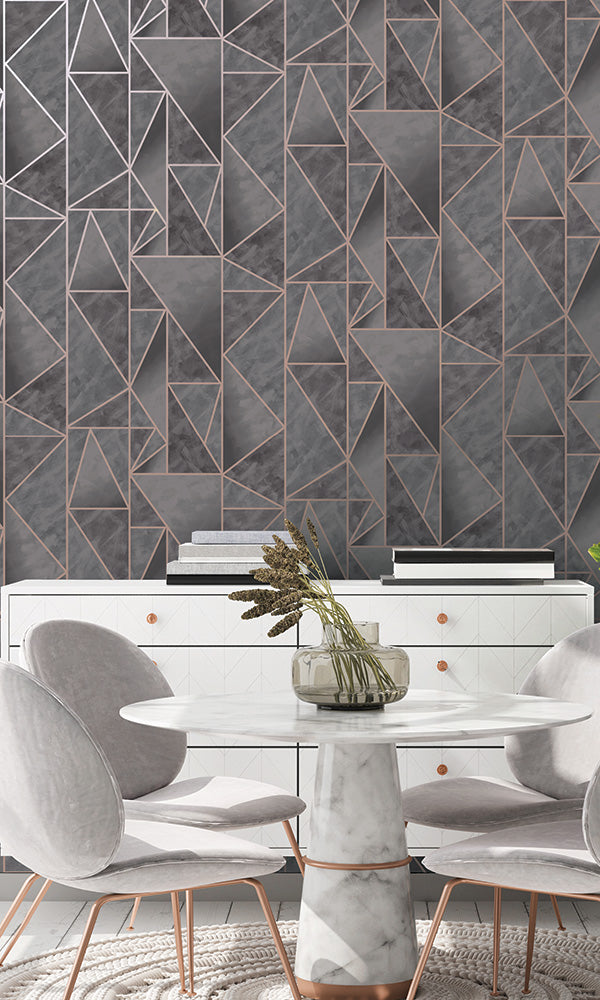 metallic modern geometric wallpaper