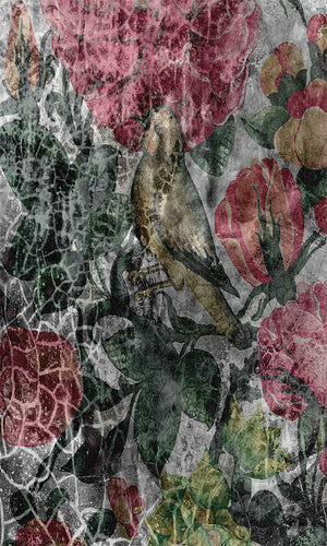 cracked floral wallpaper