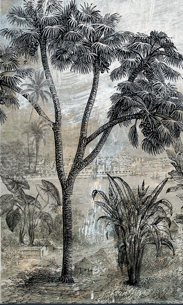 vintage illustrated tropical landscape wallpaper