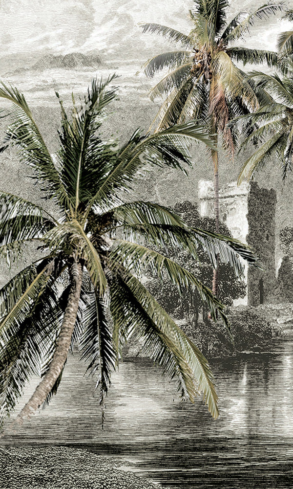illustrated tropical landscape wallpaper