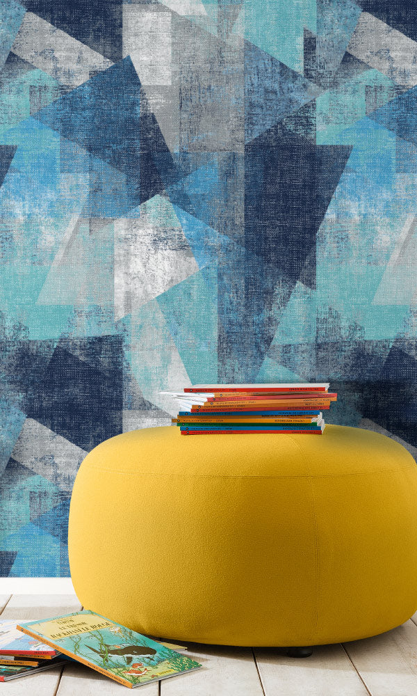 large abstract geometric home office wallpaper