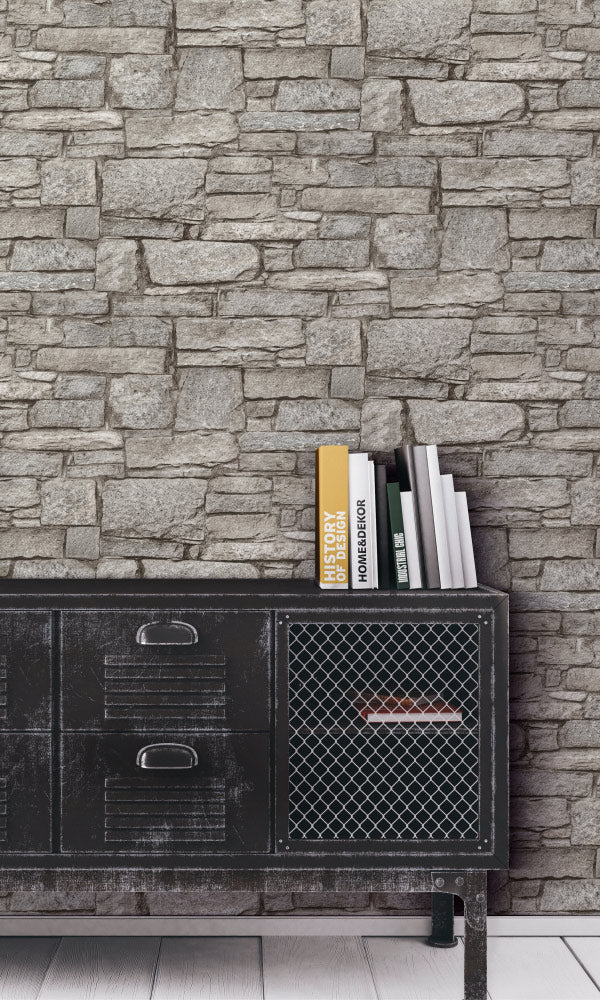 faux stone home office wallpaper