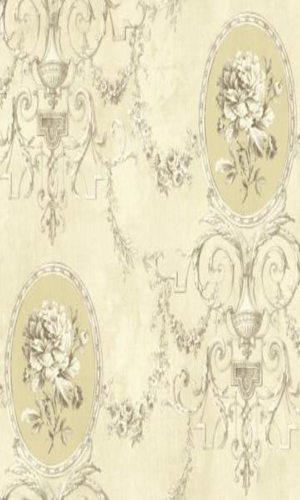 Brockhall Ornate Floral Frame Wallpaper NH20505