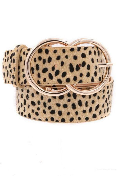 "Cow Hide Animal Print 1.5"" Double Ring Buckle Belt - Sassy & Southern"