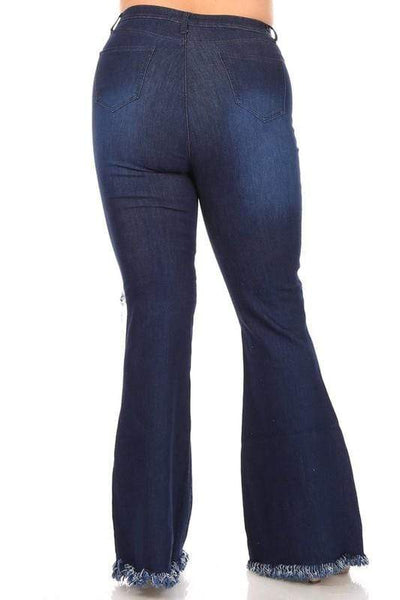 Dark Frayed Bell Bottom Flare Jeans-Reg & Plus - Sassy & Southern