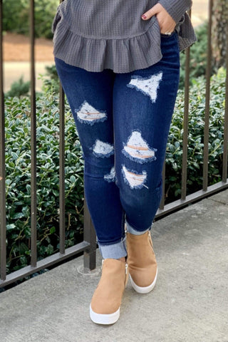 Denim Pull On Jean Jegging With Holes-Reg & Plus - Sassy & Southern