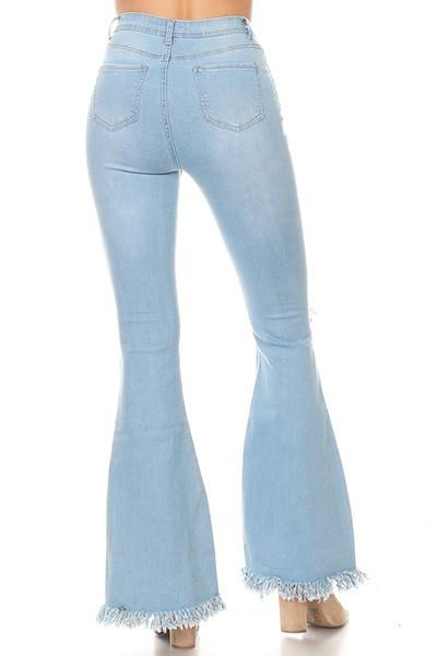 Light Washed Frayed Bell Bottom Flare Jeans-Reg & Plus - Sassy & Southern