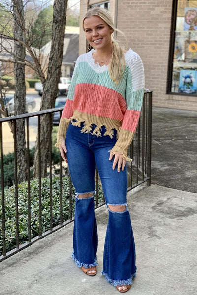Mid-Blue Frayed Bell Bottom Flare Jeans-Reg & Plus - Sassy & Southern