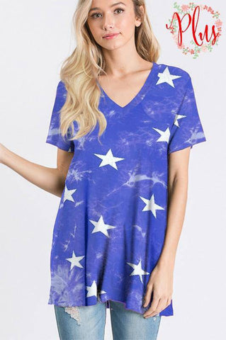 PLUS SIZE Blue Tie Dye Star Top