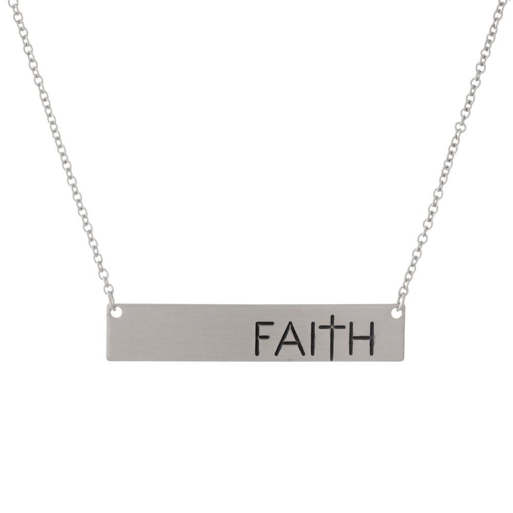 "Silver ""Faith"" Bar Necklace - Sassy & Southern"
